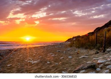 Ile d'Oleron,France sunset  on the beach,  Charente Maritime