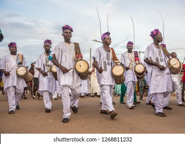 ILE IFE, OSUN STATE, NIGERIA- SEPTEMBER 28, 2018: A formation of drummers parade on the street during celebration to mark the Olojo festival in Ile Ife,  Osun State, Nigeria