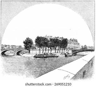 Ile Saint-Louis, vintage engraved illustration. Paris - August 1890.