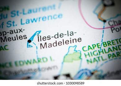 Iles de la Madeleine. Canada on a map.