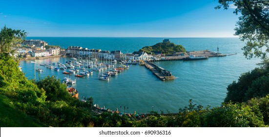 Ilfracombe Harbor at sunrise in broad panorama across the picturesque town.