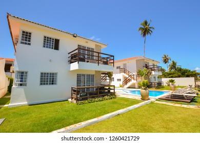 Ilha de Itamaraca, Brazil - Circa December 2018: Fancy condominium by the beach on Itamaraca Island (north shore of Pernambuco state)