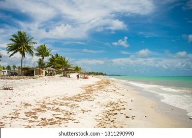 Ilha de Itamaraca, Brazil - Circa January 2018: A view of the beautiful Praia do Sossego (Sossego beach)
