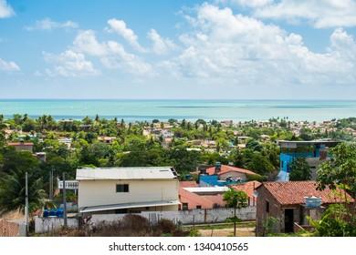 Ilha de Itamaraca, Brazil - Circa January 2019: A view of Itamaraca island from above - atlantic ocean in the background