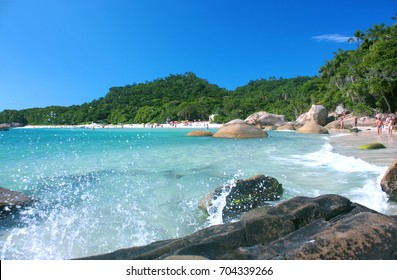 ILHA DO CAMPECHE, FLORIANOPOLIS, SANTA CATARINA, BRAZIL - MARCH 23, 2009: Beautiful view of a main beach in Campeche Island.