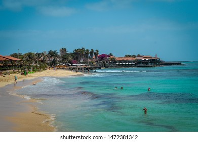 Ilha do Sal, Cabo Verde, Africa - march 22, 2017: Sunny day at Santa Maria Beach