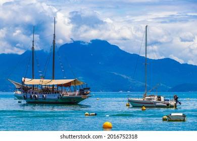 Ilha Grande 30. November 2020 Boats ships and Boat trips from Abraao beach Ilha Grande Angra dos Reis Rio de Janeiro Brazil.
