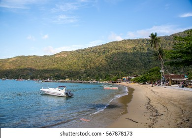 ILHA GRANDE, BRAZIL - OCTOBER 8, 2016: Boats on the shore of the island, Ilha Grande.