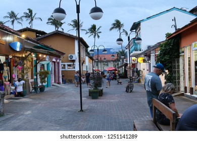 Ilhabela, Brazil; September 30 2018: Small commercial shops on a pedestrian street.