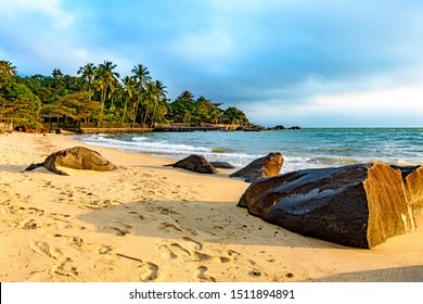 Ilhabela Island Beach one of the main tourist spots of the coast of Sao Paulo with its natural tropical vegetation and paradise scenery