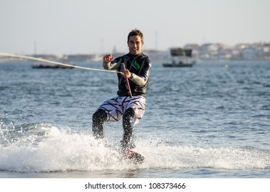 ILHAVO, PORTUGAL - JULY 21: Sergio Lopes  during the wakeboard demo in the 3rd Kiteloop Contest Aveiro 2012 on july 21, 2012 in Ilhavo, Portugal.