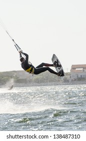 ILHAVO, PORTUGAL - MAY 12: Ralph Hirner Kitesurfing during the Festival do Vento  on may 12, 2013 in Ilhavo, Portugal.