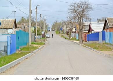 Ilishkin Street in the spring afternoon. Elista, Kalmykia