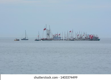 ILKADIM, SAMSUN / TURKEY - 19 MAY 2019: Ships, yachts and boats moving in the port of Samsun. They accompanied the May 19 celebrations.