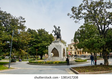ILKADIM, SAMSUN, TURKEY 24 APRIL 2019: Statue of Honor and Atatürk Monument is a monument situated in Samsun. dedicated to the landing of Mustafa Kemal in Samsun for the Turkish War of Independence.