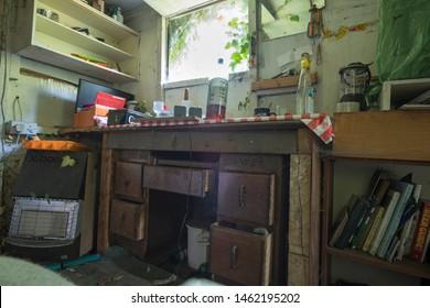 Ilkeston, Derbyshire, UK 07/17/2019 Rustic shack interior