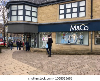 Ilkley, Leeds, West Yorkshire, UK - March 30 2018 - M&Co shop on the high street in Ilkley, West Yorkshire - Editorial
