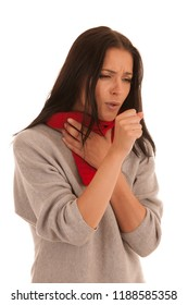 Ill caucasian woman cough isolated over white background .