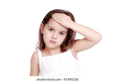 Ill girl having a headache