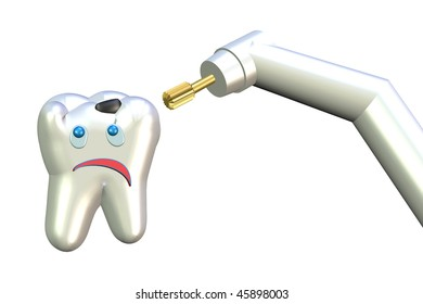 ill teeth and dentist's drill