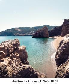 Illa Roja, Platja del Racó - Platja de Pals (Costa Brava, Girona). Nudist beach of an old medieval rustic town called Pals, between Calella de Palafrugell and Begur. Perfect for coastal trekking.