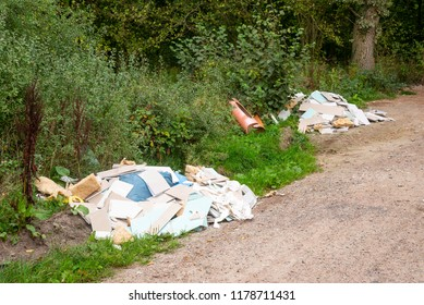 Illegal dumping in a forest