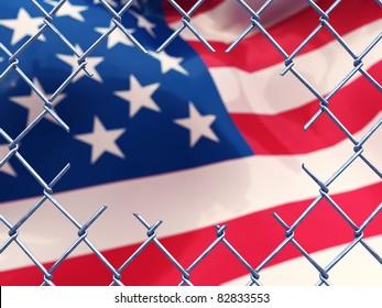 Illegal immigration concept , 3d illustration