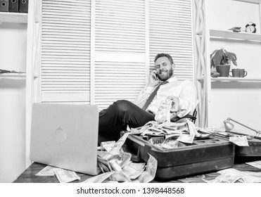 Illegal money profit concept. Businessman discuss successful deal. Fraudster speak mobile phone. Financial fraud crime. Man earn money on mobile conversation fraud. Blackmail and money extortion.