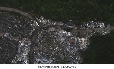 Illegal Outdoor Garbage Dump Aerial View. Environmental Pollution