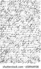 Illegible unreadable handwriting. Grunge vintage paper texture background