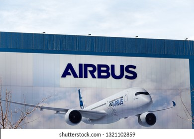 ILLESCAS, SPAIN - FEBRUARY 16, 2019: Airbus logo on Airbus building. Airbus is a European aerospace corporation