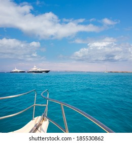 Illetes Illetas Formentera yacht sailboats anchored in turquise Mediterranean