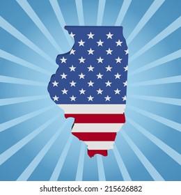 Illinois map flag on blue sunburst illustration