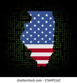 Illinois map flag on dollar symbols illustration