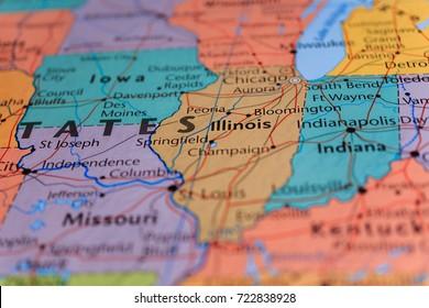 illinois, missouri, indiana on the map