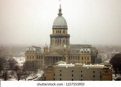 Illinois State Capitol Building  - aerial view during the snowstorm. Springfield, Illinois, USA.