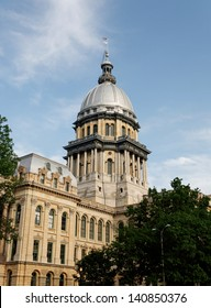 The Illinois State Capitol building in downtown Springfield.