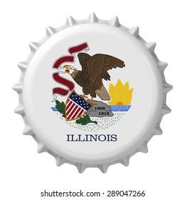 Illinois State flag on bottle cap. 3D rendering