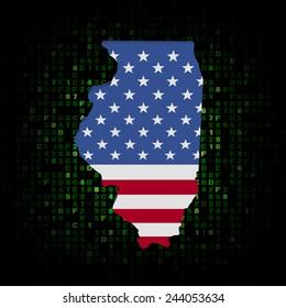 Illinois state map flag on hex code illustration