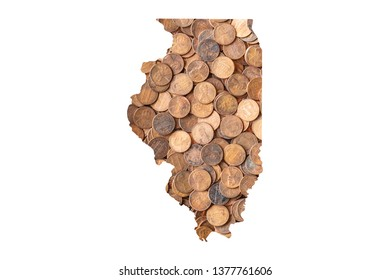 Illinois State Map and Money, Piles of Coins, Pennies