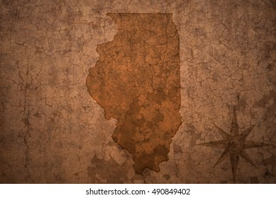 illinois state map on a old vintage crack paper background