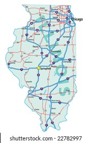 Illinois state road map with Interstates and U.S. Highways. JPG version.