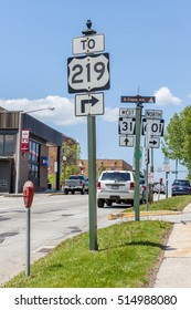 Illinois, USA- May 19, 2014. Direction information roadsign.