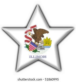 Illinois (USA State) button flag star shape