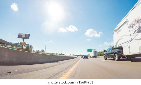 Illinois, USA-July 15, 2017. POV point of view - Driving West on Interstate highway 70 through Illinois.