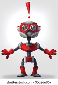 Illlustration of red robot emitting an exclamation mark in surprise
