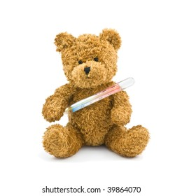 illness teddy isolated on white
