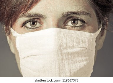 illness women in medicine healthcare mask - colorized photo