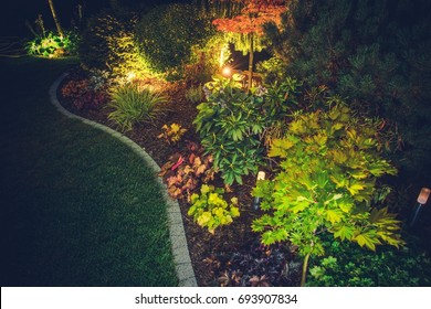 Illuminated Backyard Garden. Night Time Photo. Outdoor Garden Lighting.