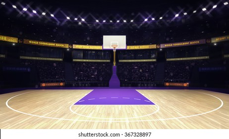 illuminated basketball basket with spectators and spotlights, sport topic arena interior illustration
